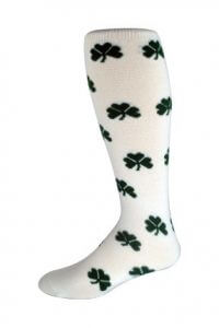 Lucky Repeat Knee-high Logo Socks with green 3-leaf clover and white background